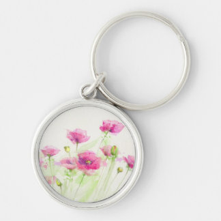 Painted watercolor poppies 3 key ring