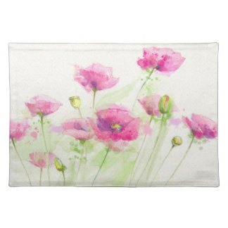 Painted watercolor poppies 3 placemat