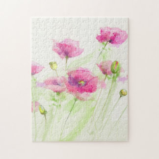 Painted watercolor poppies 3 puzzle