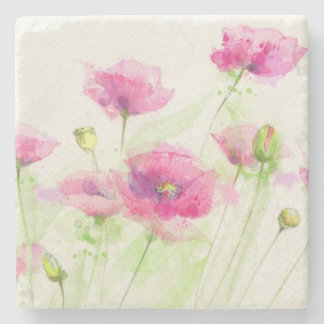 Painted watercolor poppies 3 stone beverage coaster