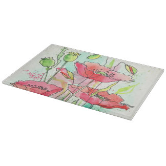 Painted watercolor poppies cutting board