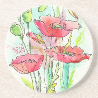 Painted watercolor poppies drink coasters
