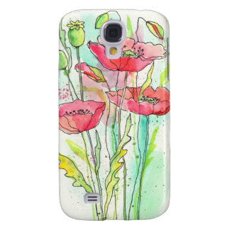 Painted watercolor poppies galaxy s4 case