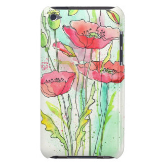 Painted watercolor poppies iPod touch covers