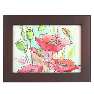 Painted watercolor poppies keepsake box