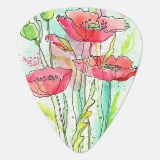 Painted watercolor poppies plectrum