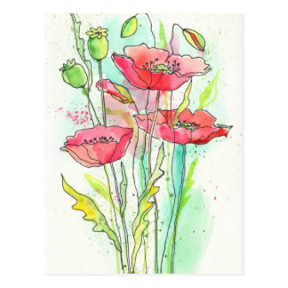 Painted watercolor poppies postcard