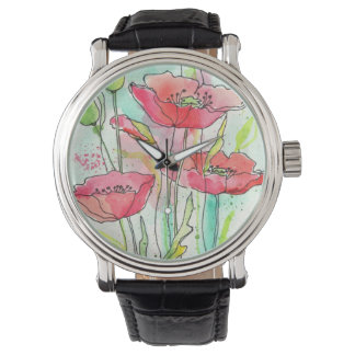 Painted watercolor poppies watch