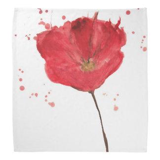 Painted watercolor poppy flower 2 bandana