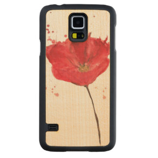 Painted watercolor poppy flower 2 carved maple galaxy s5 case