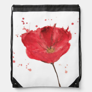 Painted watercolor poppy flower 2 drawstring bag