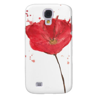 Painted watercolor poppy flower 2 galaxy s4 case