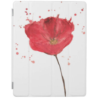 Painted watercolor poppy flower 2 iPad cover