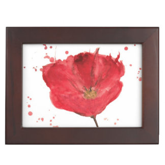Painted watercolor poppy flower 2 keepsake box
