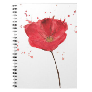 Painted watercolor poppy flower 2 notebook