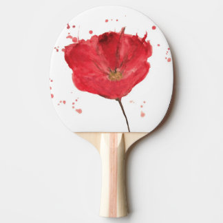 Painted watercolor poppy flower 2 ping pong paddle