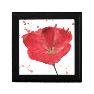 Painted watercolor poppy flower 2 small square gift box