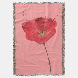 Painted watercolor poppy flower 2 throw blanket