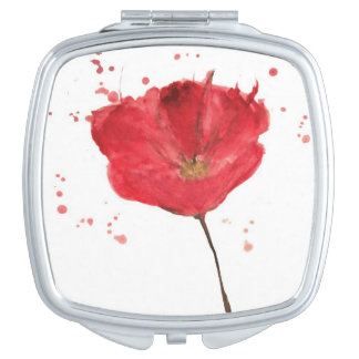 Painted watercolor poppy flower 2 travel mirrors