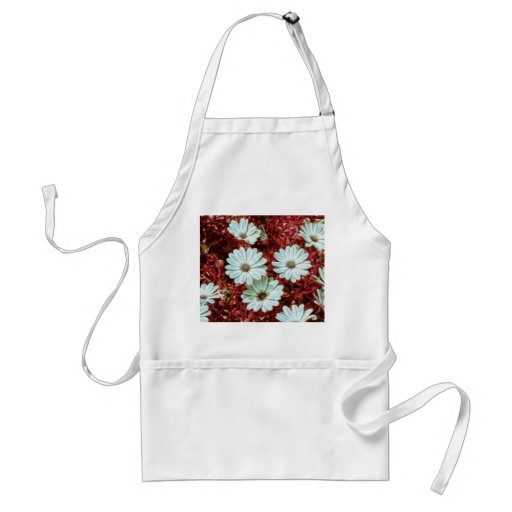 Painted White Daisie Flowers and Foliage Print Apron