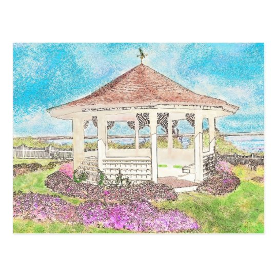 Painted White Gazebo In Cape Cod Postcard