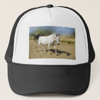 PAINTED WHITE HORSE TRUCKER HAT