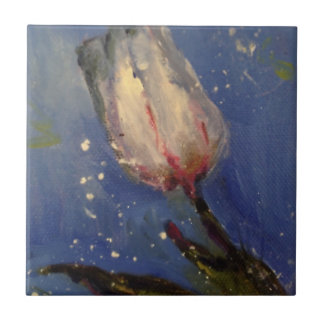 Painted white tulip with blue background tule tile
