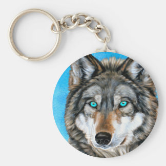 Painted Wolf (Blue Eyes) Basic Round Button Key Ring