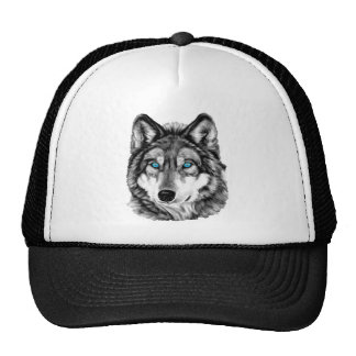 Painted Wolf Grayscale Blue Eyes Cap