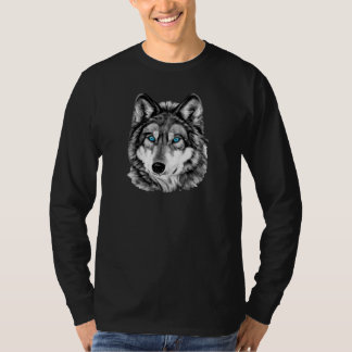 Painted Wolf Grayscale Blue Eyes T Shirts