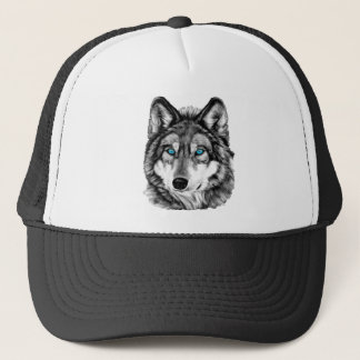 Painted Wolf Grayscale Blue Eyes Trucker Hat