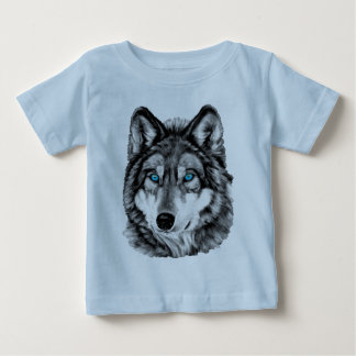 Painted Wolf Grayscale Blue Eyes Tee Shirts