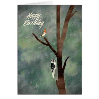 Painted woodland with woodpecker and robin card