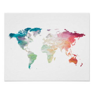 World map posters prints zazzle painted world map poster gumiabroncs Gallery