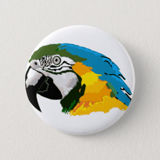 Painted Yellow Blue Macaw Parrot 6 Cm Round Badge
