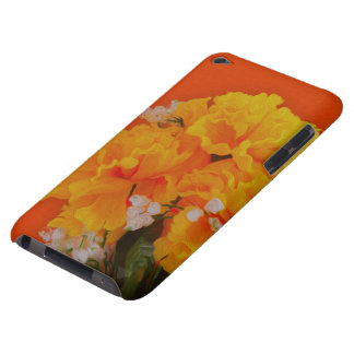 Painted Yellow Flowers on Orange iPod Touch Case