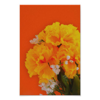 Painted Yellow Flowers on Orange Photo Print
