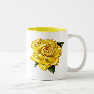 Painted Yellow Rose Mugs