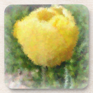 Painted Yellow Tulip Drink Coasters
