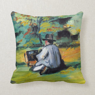 Painter at Work by Paul Cezanne, Vintage Fine Art Cushion