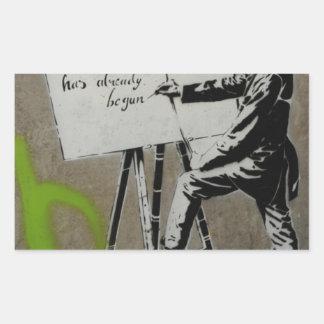 Painter at work rectangular sticker