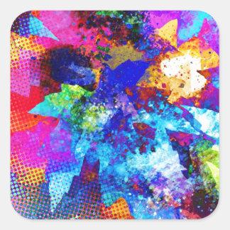 Painter Brush, Colors Spots, Rusty Antique Junk St Square Sticker