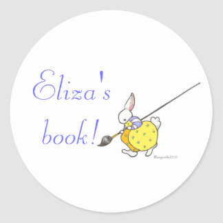 painter bunny bookplate classic round sticker