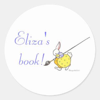 painter bunny bookplate round sticker