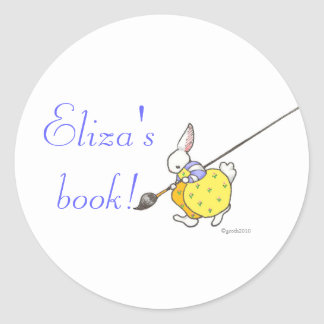 painter bunny bookplate round sticker