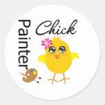 Painter Chick Round Sticker