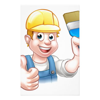 Painter Decorator Holding Paintbrush Customized Stationery