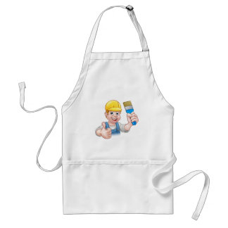 Painter Decorator Holding Paintbrush Standard Apron