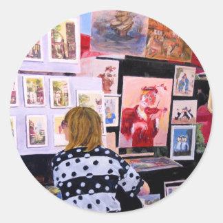 Painter in progress round sticker