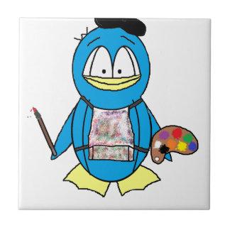 Painter Penguin Small Square Tile